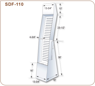 Two Tray Corrugated Floor Display 72 1 8 In H X 13 3 4 In W
