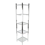 2932C - 4 Shelf Open Display Etagere Tower Chrome