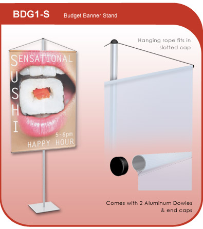 Budget Banner Hanging Stand - Silver