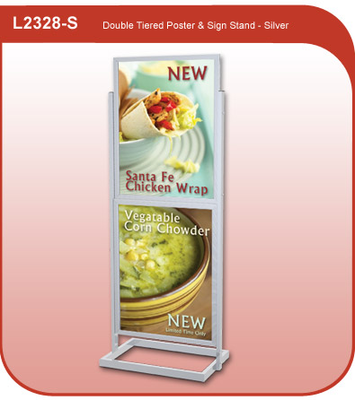 Double Tiered Poster and Sign Stand - Silver