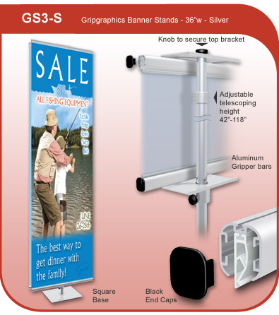 Gripgraphics Banner Display Stand - 36 inch
