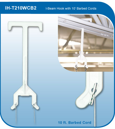 I-Beam Display Hook with Barbed Cords