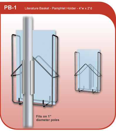 Literature and brochure holder for 1 inch diameter pole