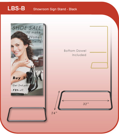 Showroom Banner Display Stand - Black