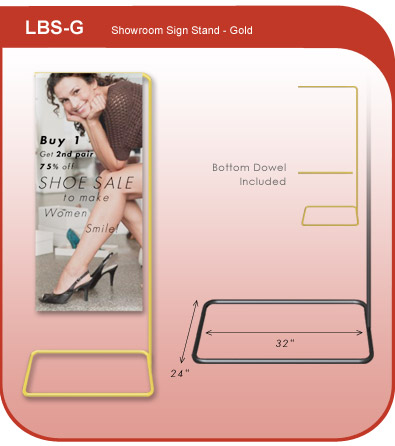 Showroom Banner Display Stand - Gold