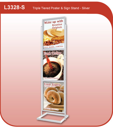 Triple Tiered Poster and Sign Stand - Silver