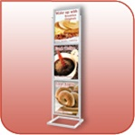L3328-S - Triple Tiered Poster and Sign Stand - Silver