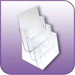 LH-3T - Three-Tiered Clear Acrylic Literature and Brochure Display - 3 Tiers, Each Tier 9 in. w x 1-1/4 in. d
